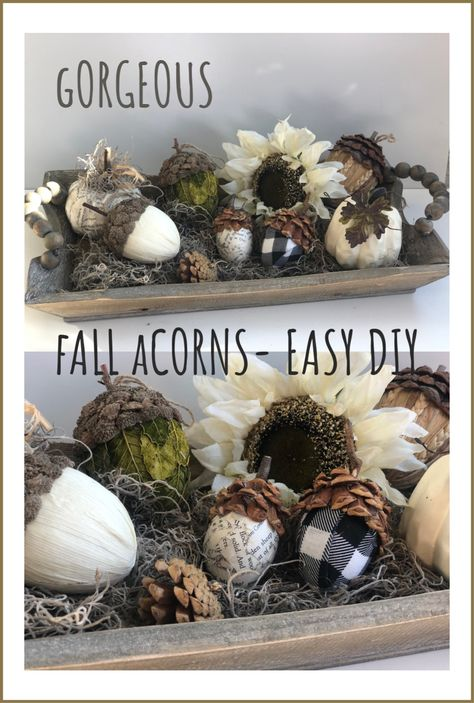 Gorgeous Fall Acorns – Easy DIY Turn your ester eggs into this stunning Fall Decor! Make your fall acorns today Gorgeous Fall Acorns – Easy DIY Turn your ester eggs into this stunning Fall Decor! Make your fall acorns today Acorn Crafts, Fall Crafts, Holiday Crafts, Crafts With Acorns, Bunny Crafts, Burlap Pumpkins, Glands, Plastic Easter Eggs, Thanksgiving Decorations