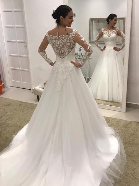Off Shoulder Long Sleeve Lace Tulle Ball Gown Wedding Dresses