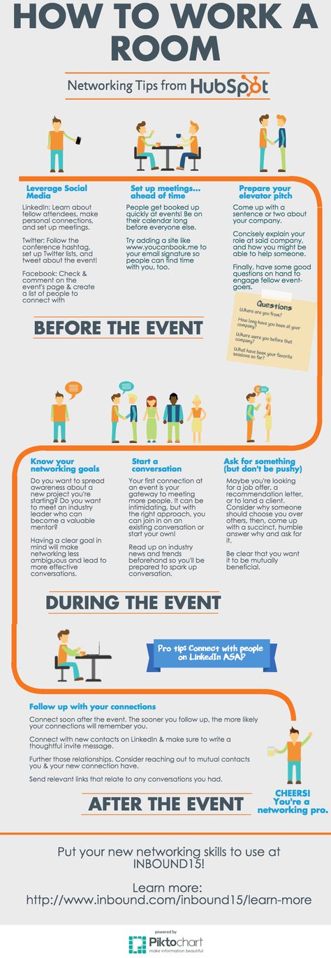 To Work A Room [Infographic] How To Work a Room at your next networking event - helpful for the introverts amongst us! How To Work a Room at your next networking event - helpful for the introverts amongst us!