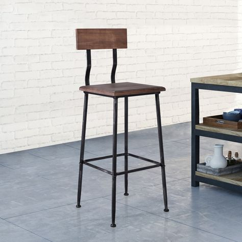 Swell Jobe Industrial Metal Barstool With Rustic Pine Wood Seat Caraccident5 Cool Chair Designs And Ideas Caraccident5Info