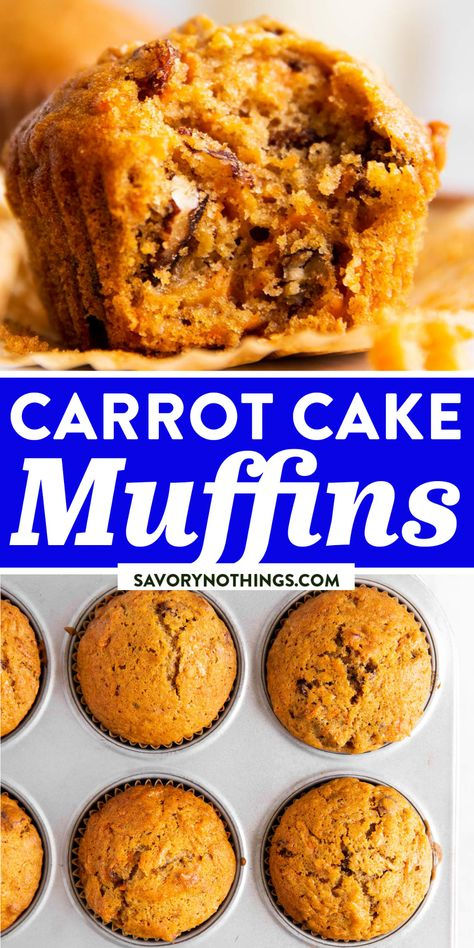 These Carrot Muffins taste just like a soft and fluffy carrot cake, but are still healthy enough to eat for breakfast. Studded with plenty of shredded carrot, chopped pecans and raisins, these are delicious and full of warm spice flavor. | #easterrecipes #easterbrunch #easterbreakfast #easterbaking #brunchideas #brunchrecipes #breakfastrecipes #breakfastideas #easter #carrotcake #muffins #muffinrecipes #springrecipes #easybaking #bakingrecipes #easyrecipes #easyrecipesforbeginners