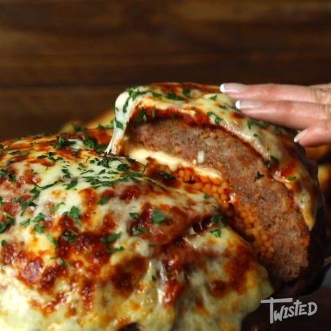 Giant Spaghetti Stuffed Meatball! - #Giant #Meatball #Spaghetti #Stuffed