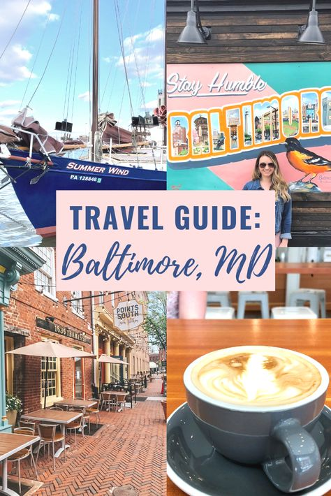 Explore the harbor and all the best that Baltimore Maryland has to offer in this travel guide. Eat like a local do all the fun activities drink delicious coffee stay in the trendiest hotel and find some amazing picture opps! Visit Maryland, Baltimore Maryland, Annapolis Maryland, Dc Travel, Adventure Travel, Places To Travel, Weekend Trips, Weekend Getaways, Crown