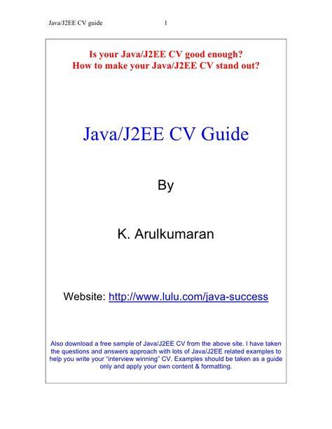java-j2-eecvguide by Raghavan Mohan via Slideshare pintu - core java resume
