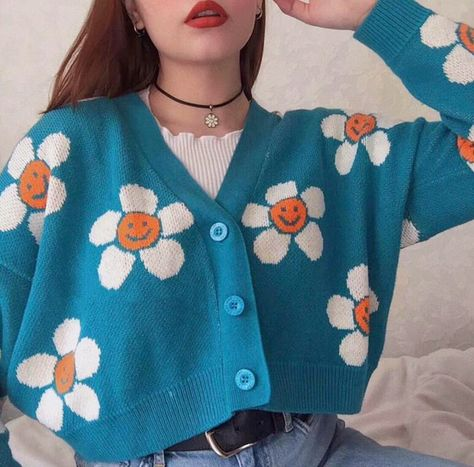 Smiley Sun Flower Blue Knit Sweater Cardigan Source by yeetmyselfoff outfits Vintage Outfits, Retro Outfits, Girl Outfits, Fashion Outfits, Blue Outfits, 2000s Fashion, Vintage Clothing, Fashion Shirts, Rock Outfits