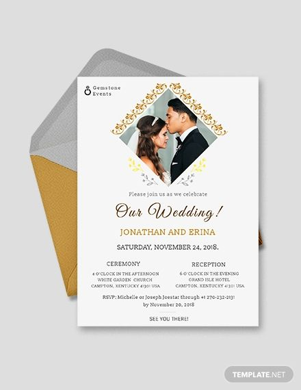 Photo Wedding Invitation Template Word Doc Psd Indesign Apple Mac Pages Publisher Illustrator Photo Wedding Invitations Wedding Invitation Templates Wedding Invitation Card Design