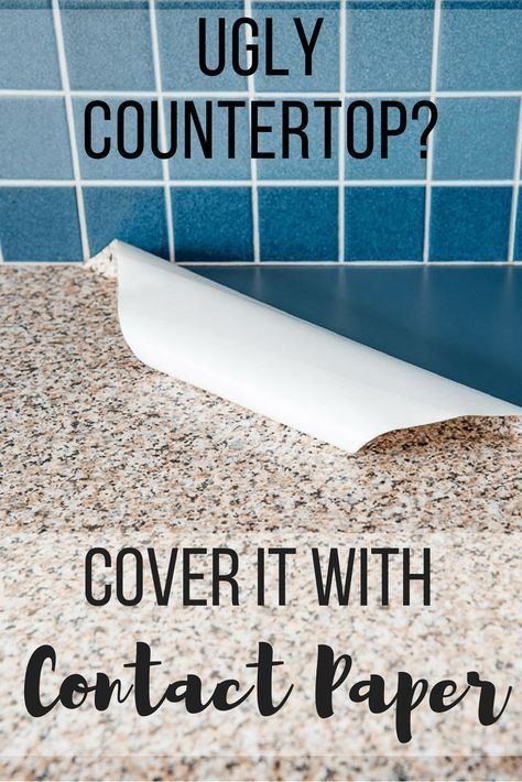Don't suffer with an ugly kitchen countertop! Cover it with contact paper! This contact paper kitchen counter has been in place for two years, and still looks amazing! Check out how to apply contact paper to your countertop so it looks like real granite! #homeimprovement #countertop #kitchenideas   via @handymansdaught