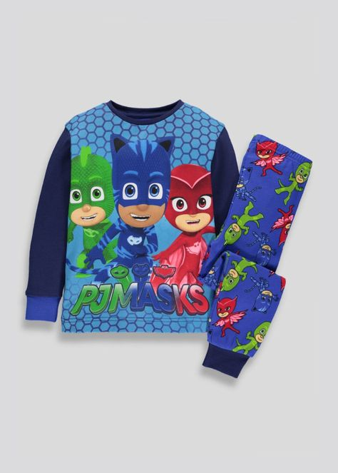 NEW Boys 2 piece Pajamas Set Size 2T Shirt Top Pants PJ Masks Superhero Blue