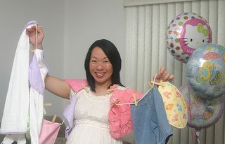 Take a laundry basket, clothesline,  clothespins and pin your clothing gifts to the line then lay in basket accordion style, cover with tissue paper and tie ribbon on handles! When mom to be open gift someone help her by holding the end of the clothesline up and you will hear ooh's and ahh's! A neat way to give several outfits!!!