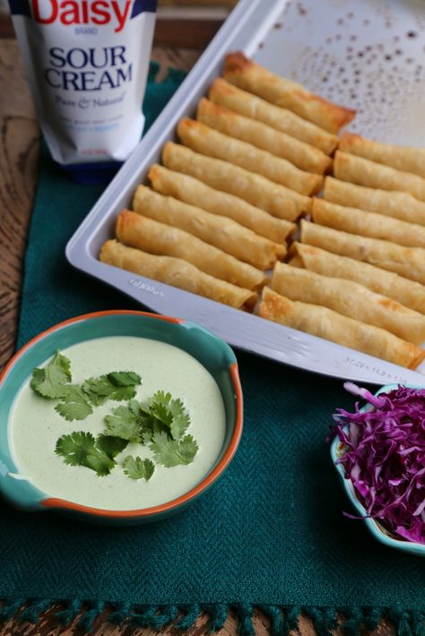 Chicken Taquitos with Creamy Poblano Sauce #DollopOfDaisy #ad