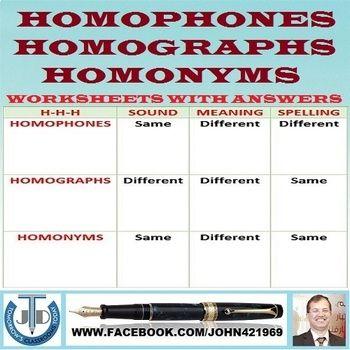 Homophones Homographs Homonyms 19 Worksheets With Answers Homographs Homonyms Spelling Lessons Homographs practice worksheets