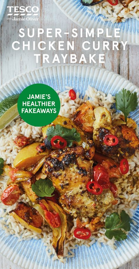 """Jamie Oliver says, """"I'm sharing a super- simple chicken curry recipe – my spin on a beautiful Indian dish. The story starts with a tray full of chicken and veg, plus a super-easy homemade curry paste you just blitz up in a blender. Simply whack the tray in the oven and let it do the work while you get on with more important things. Now that's my kind of fast food."""" 