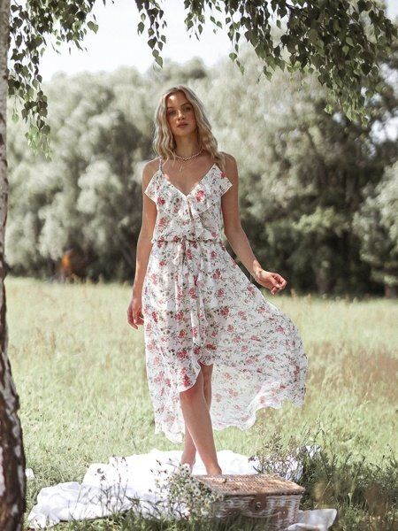 Biala Sukienka Maxi Na Ramiaczkach W Kwiaty Dresses Fashion High Low Dress