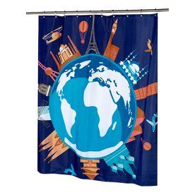 Carnation Home Fashions Our World Polyester Blue Orange Patterned Shower Curtain Fsc13 Ow