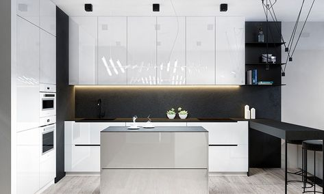 Cucina bianca e nera dal design moderno 03   Cucine   Pinterest ...