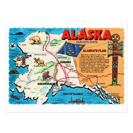 Retro Vintage Kitsch Postcard Alaska 49th State | Zazzle com