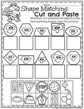Kindergarten Color Cut And Paste Worksheets - Coloring pages