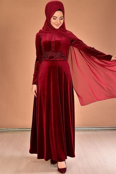 Modamerve Sik Tesettur Kadife Abiye Elbise Modelleri Moda Tesettur Giyim Moda Stilleri Kusakli Elbise Elbise Modelleri