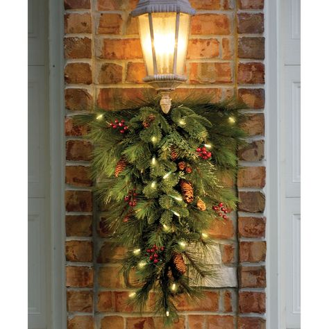 The Decorated Cordless Prelit Teardrop Swag - Hammacher Schlemmer Diy Christmas Garland, Christmas Porch, Noel Christmas, Outdoor Christmas Decorations, Rustic Christmas, Christmas Lights, Christmas Crafts, Holiday Decor, Whimsical Christmas