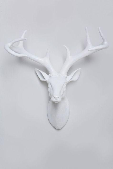 White Deer Head White Deer Heads Antler Wall Decor Deer
