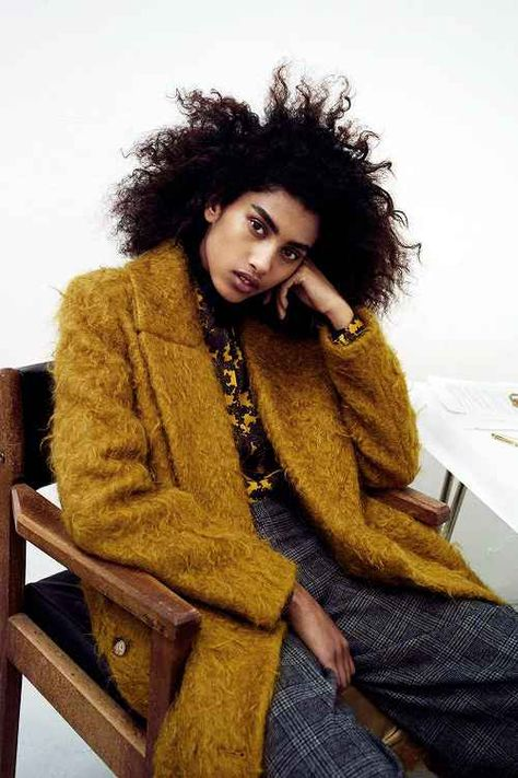 Imaan Hammam by Max Farago for Vogue UK August 2015 street style inspo textured fluffy coat fall autumn checkers tartan trousers hair envy