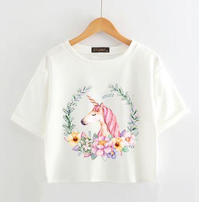 Chic Unicorn T Shirt Summer Cute Cartoon Print Women's Tops Casual Short Sleeve Soft T Shirts Women Unicorns Female Tees