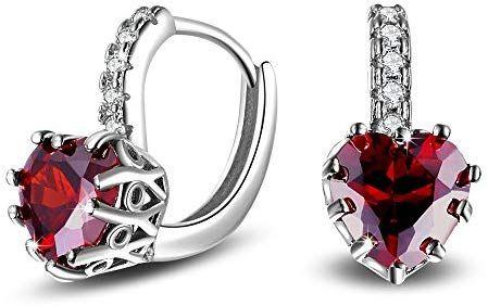 Lanaso Red Diamond Cuff Earrings Silver
