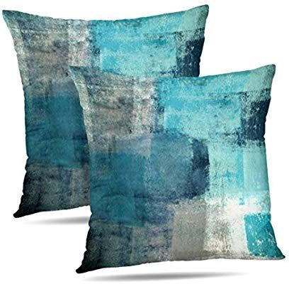 Alricc Set Of 2 Turquoise And Grey Art Artwork Contemporary Decorative Gray Home Turquoise Throw Pillows Decorative Throw Pillow Covers Decorative Pillow Cases