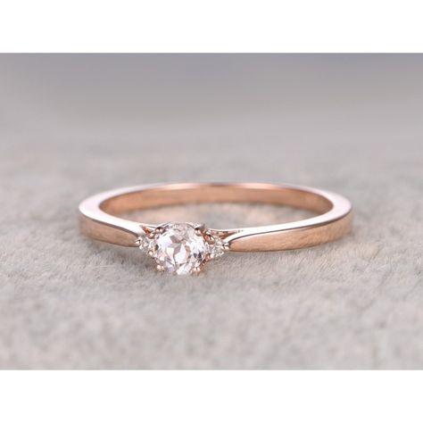 Ring For women 1.25CT Round Cut  Morganite Engagement Ring 14k Rose Gold Wedding Set White Topaz side stone Gemstone Bridal set