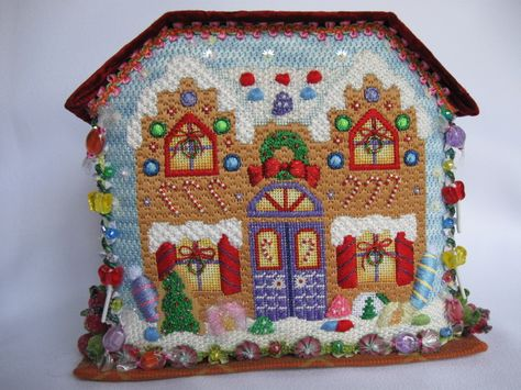 gingerbread house needlepoint ornament