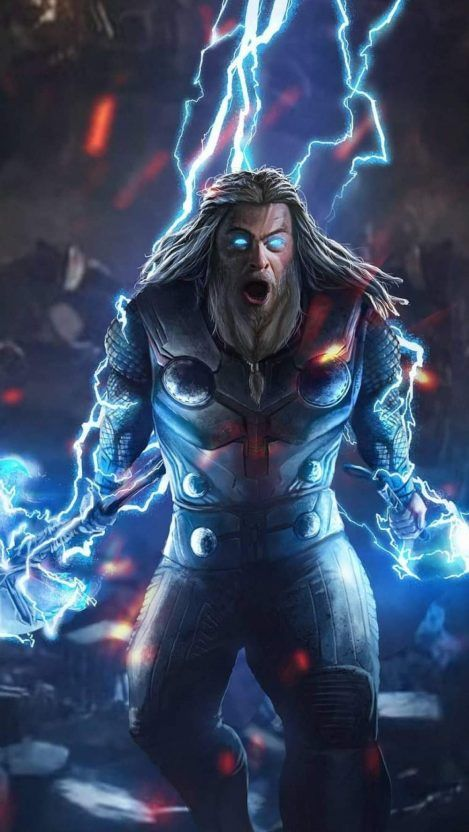 God Of Thunder Thor Endgame Fight Iphone Wallpaper Thor