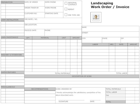 Example Image Landscaping Work Order Form Small Business Owner - landscaping invoice