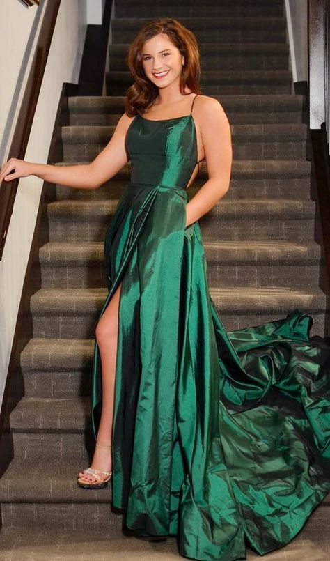 95654a03469f Long Prom Dresses with Slit, Green Formal by PrettyLady on Zibbet