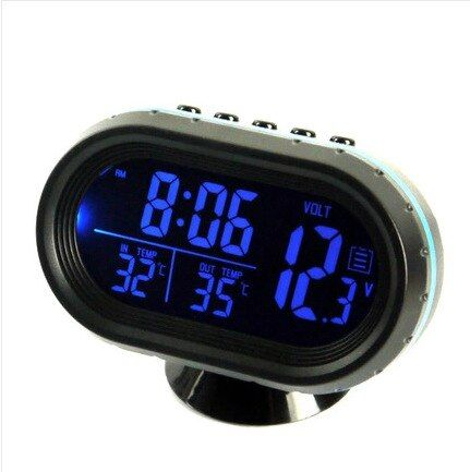 Digital Car Lcd Clock Voltmeter Thermometer Battery Voltage Temprerature Monitor Dc 12v 24v Multi Function Freeze Alert Car Clock Clock Alarm