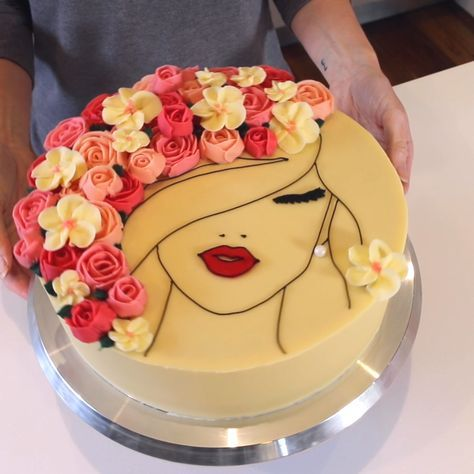 Awesome A Floral Face Cake Made Of Gorgeous Buttercream Roses Cake Funny Birthday Cards Online Alyptdamsfinfo