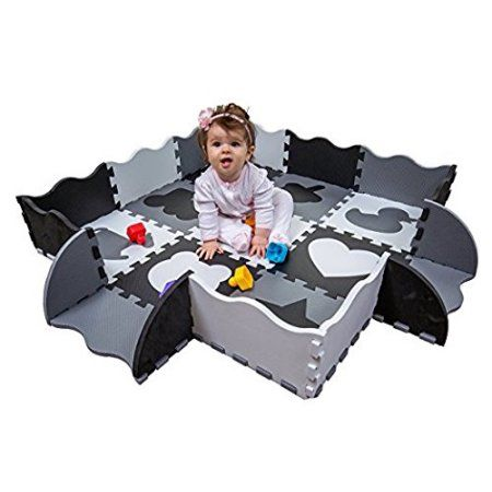 Wee Giggles Non Toxic Extra Thick Foam Baby Play Mat For Tummy Time And Crawling Black White Gray Walmart Com Baby Play Mat Baby Play Play Mat