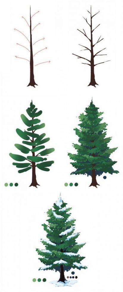 22 Trendy Digital Art Easy Procreate Pine Tree Painting Tree Art Christmas Tree Painting