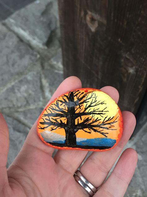paint #Sunset #Tree #rockpainting...