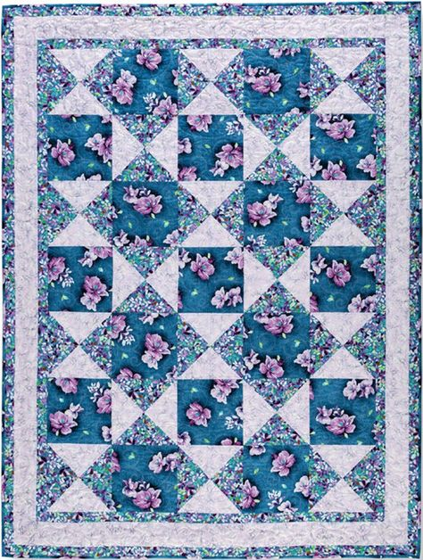 Easy Does It 3 Yard Quilts book. 8 great quilt patterns for using 3 yards of fabric Marimekko, Adobe Illustrator, Big Block Quilts, Large Print Quilt Blocks, Star Quilts, Easy Quilt Patterns, Floral Patterns, Textile Patterns, Purple Quilts