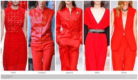 Top 10 Women's colors for Spring / Summer 2015, by Fashion Snoops. Red is still very much a must-have color, with poppy providing the brightest casts.