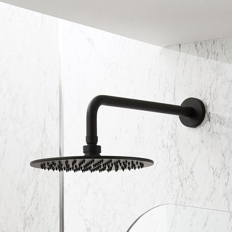 Black Manual Concealed Valve with 300mm Round Fixed Head and Arm Milano Shower System Nero