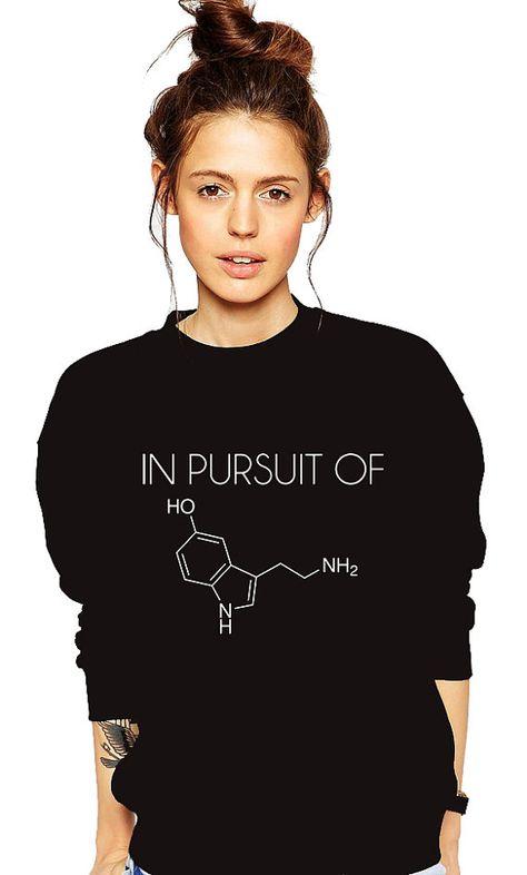5d5db8c7 Funny Tshirt - Chemistry Sweatshirt - Serotonin Molecule - Psychologist T  Shirt - Science Geek - Nerd - Teacher - Professor - Periodic Table