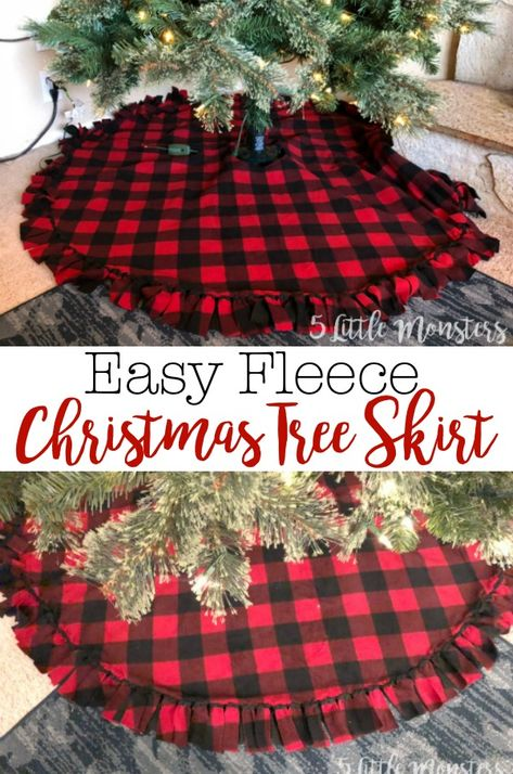 Fleece Christmas tree skirt made with 2 layers of fleece tied around the edge with a velcro closure. Make a quick and easy tree skirt with 2 pieces of fleece. Tied fringe around the outside and a velcro closure finish the tree skirt. Diy Christmas Tree Skirt, Burlap Christmas, Christmas Sewing, Plaid Christmas, Christmas Projects, White Christmas, Christmas Holidays, Christmas Tree Skirts Patterns, Christmas Wreaths