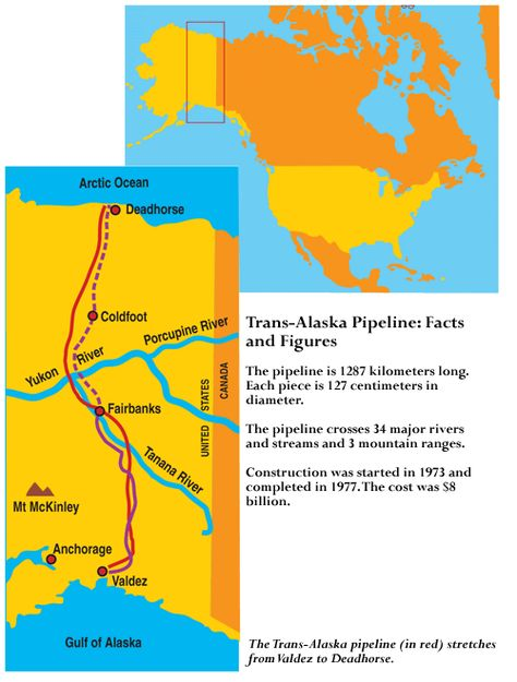 Map showing the route of the Alaska pipeline from Deadhorse ...