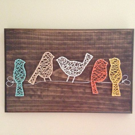 Birds on a wire string art sign by my2heARTstrings on Etsy