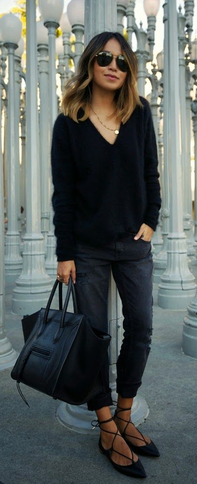Perfect Black Style | Black V-Neck Sweater with Boyfriend Ripped ...