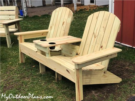 This step by step woodworking project is about double adirondack chair plans. This article features detailed instructions for building nice double adirondack chairs with table, ideal for any backyard. Adirondack Chair Plans Free, Adirondack Furniture, Outdoor Furniture Plans, Diy Furniture Plans Wood Projects, Woodworking Furniture Plans, Diy Projects, Woodworking Ideas, Wooden Adirondack Chairs, Wood Chairs