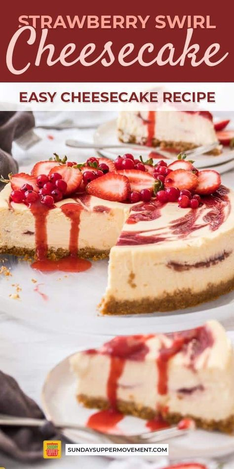 Beautiful strawberry swirl cheesecake is an easy dessert recipe made with simple., Beautiful strawberry swirl cheesecake is an easy dessert recipe made with simple homemade strawberry sauce and smooth, creamy baked cheesecake! Strawberry Cheesecake Recipe Easy, Baked Cheesecake Recipe, Homemade Cheesecake, Strawberry Sauce, Strawberry Desserts, Cheesecake Strawberries, Strawberry Cheese Cakes, Strawberry Yum Yum Recipe, Desserts With Strawberries