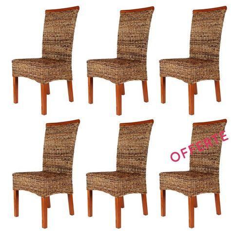 Lot De 6 Chaises Malibu En Abaca Taille Taille Unique Chaise Rotin Rotin Design Et Chaise Fauteuil