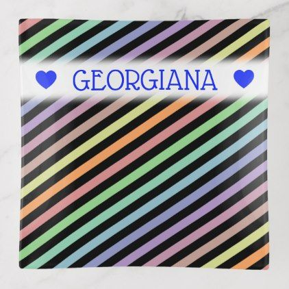 Custom Name Black Pastel Color Lines Pattern Trinket Trays